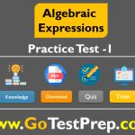 Algebraic Expressions Practice Test Question Answer 2020 PDF