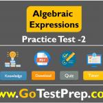 Algebraic Expressions Test 2 - Question Answers