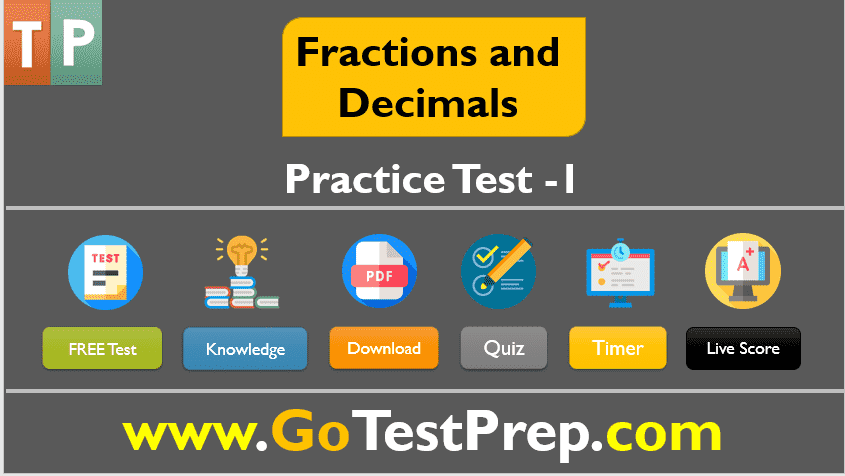 Fractions and Decimals Practice Test Question Answers PDF