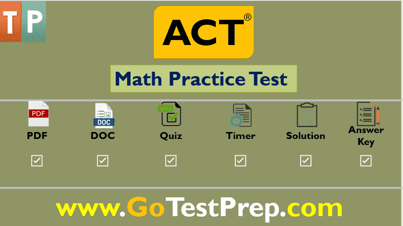 Free ACT Math Practice Test and Review Question Answers PDF
