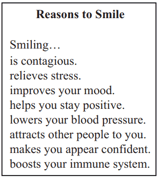 Reasons to Smile Reading Practice Test – 4