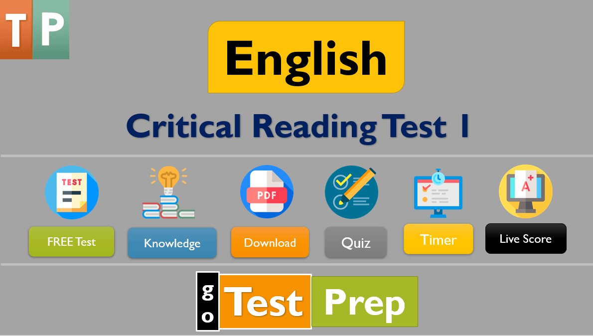 Free Critical Reading Practice Test 2 : Questions Answers Online