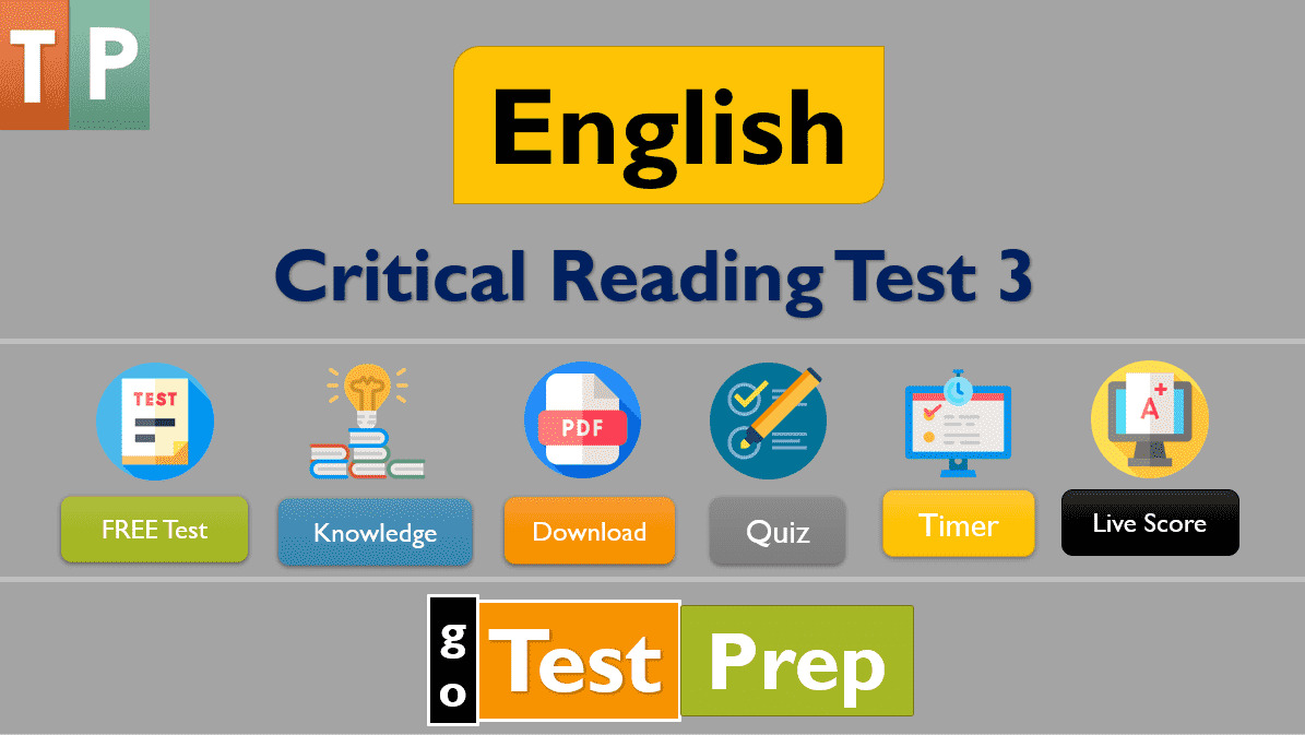 Critical Reading Practice Test 3 : Sample Questions Answers (PDF)