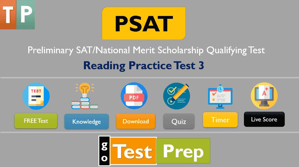 PSAT Reading Practice Test 3: New PSAT/NMSQT and PSAT 10