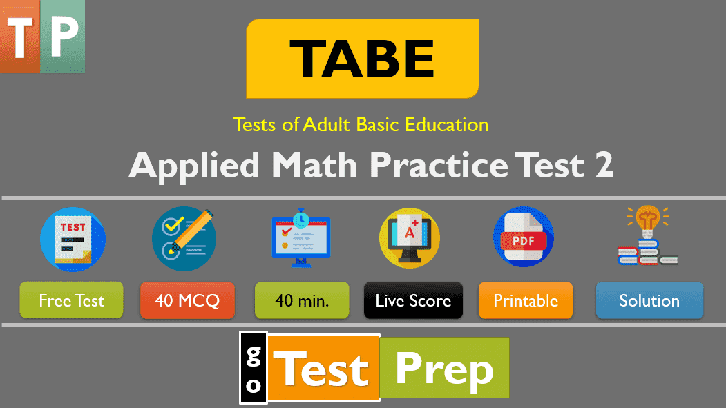 TABE Applied Math Practice Test 2 (Sample Question Level A)