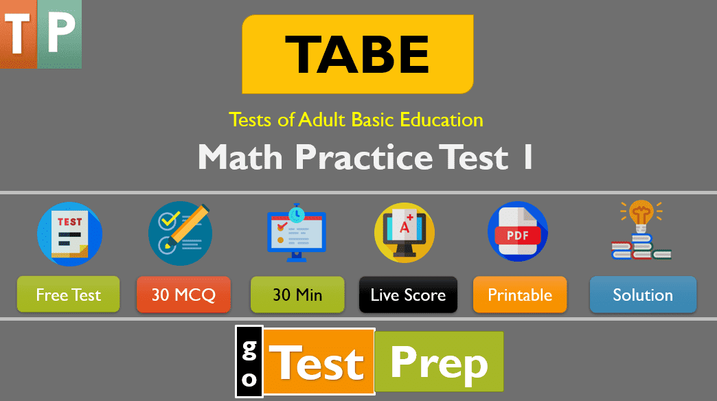 TABE Math Practice Test 2020 (Level D- Part 1)