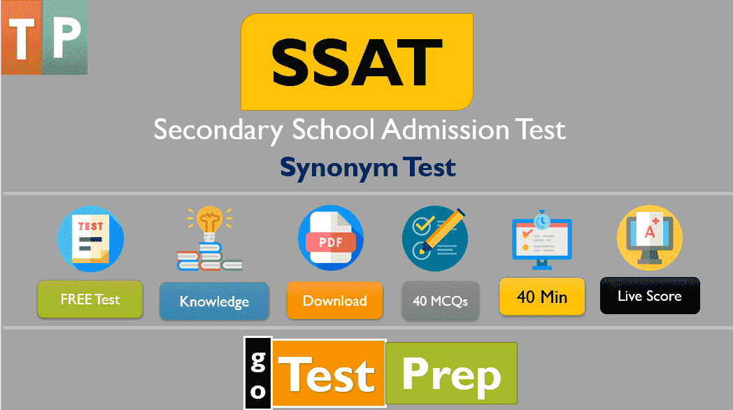 SSAT Synonym Practice Test 2021 Free Printable PDF