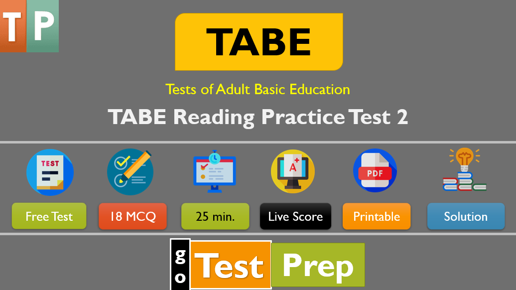 TABE Reading Practice Test 2 (Level A Question Answers PDF)
