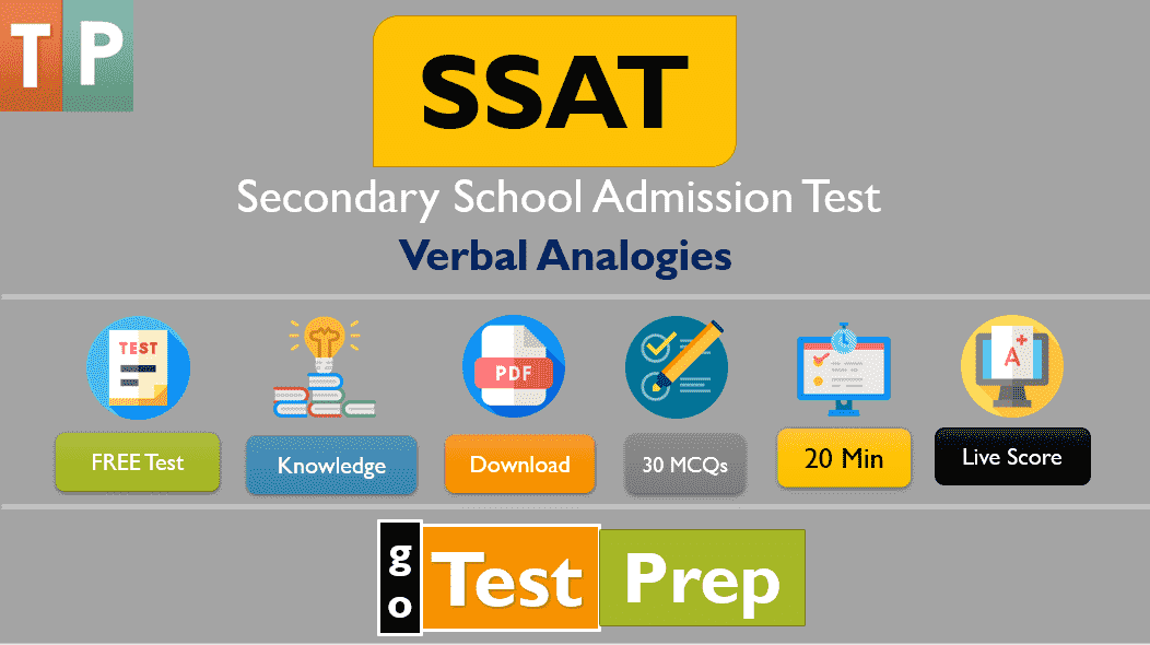 SSAT Verbal Analogies Practice Test 2021 (Printable PDF)